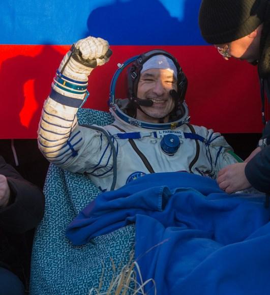 Expedition 36/37's Luca Parmitano, a European Space Agency astronaut, moments after landing Nov. 10, 2013. Credit: NASA/Carla Cioffi