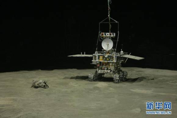 Artists concept of China's 'Yutu' rover traversing the lunar surface. Credit: CCTV