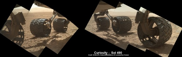 Photomosaic shows new holes and tears in several of rover Curiosity's six wheels caused by recent driving over sharp edged Martian rocks on the months long trek to Mount Sharp. Raw images taken by the MAHLI camera on Curiosity's arm on Dec. 22, 2013 (Sol 490) were assembled to show rover's underbelly and some recent damage to several of its six wheels - most noticeably the two at right in middle and front. Far fewer holes are visible in imagery  captured earlier in the Curiosity's Martian traverse - see below. Credit: NASA / JPL / MSSS / Marco Di Lorenzo / Ken Kremer- kenkremer.com   See below more wheel mosaics for comparison
