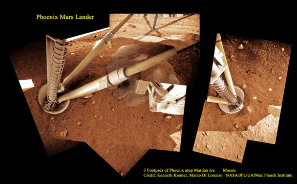 3 Footpads of Phoenix Mars Lander atop Martian Ice.  Phoenix thrusters blasted away Martian soil and exposed water ice. Proposed Mars InSight mission will build a new Phoenix-like lander from scratch to peer deep into the Red Planet and investigate the nature and size of the mysterious Martian core. Credit: Ken Kremer, Marco Di Lorenzo, Phoenix Mission, NASA/JPL/UA/Max Planck Institute