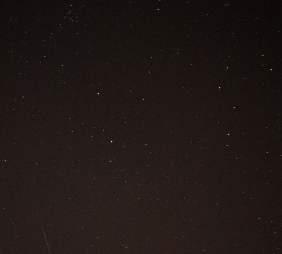 A 2012 Quadrantid meteor in the bottom left side of the frame. (Photo by Author).