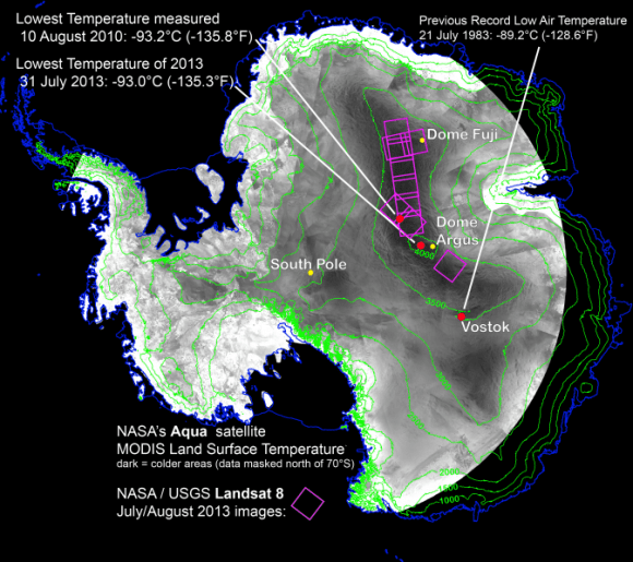 With remote-sensing satellites, scientists have found the coldest places on Earth, just off a ridge in the East Antarctic Plateau. The coldest of the cold temperatures dropped to minus 135.8 F (minus 93.2 C) -- several degrees colder than the previous record. Image Credit: Ted Scambos, National Snow and Ice Data Center.