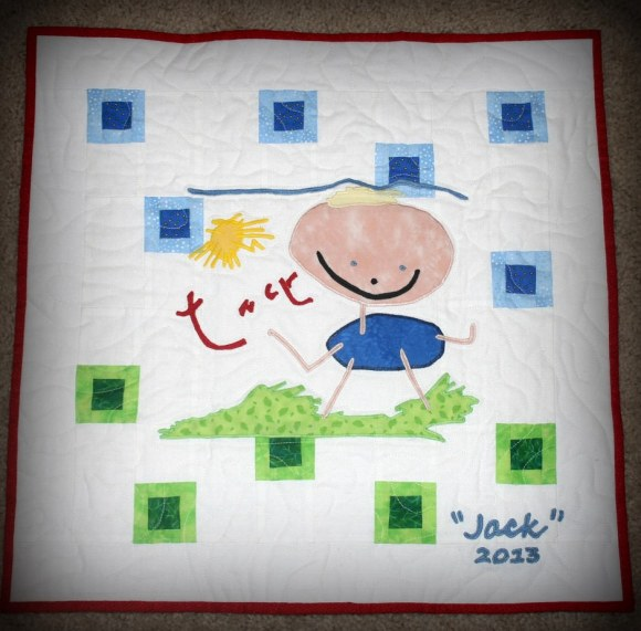 NASA astronaut Karen Nyberg created this mini-quilt based on a drawing her son, Jack, created. Picture posted in December 2013. Credit: Karen Nyberg/Pinterest