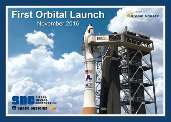 A promotional image from Sierra Nevada Corp. for the planned launch of the Dream Chaser on an Atlas V from Kennedy Space Center. Credit: SNC.