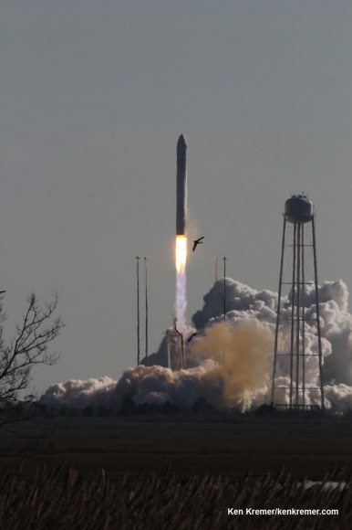 Birds take flight as Antares lifts off for Space Station from Virginia Blastoff of Antares commercial rocket built by Orbital Sciences on Jan. 9, 2014 from Launch Pad 0A at NASA Wallops Flight Facility, VA on a mission for NASA bound for the International Space Station and loaded with science experiments. Credit: Ken Kremer – kenkremer