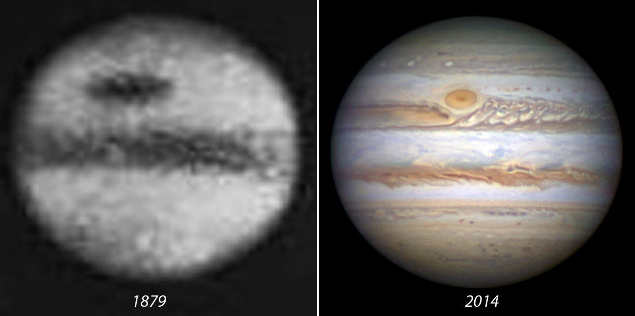 """At left, Photograph of Jupiter's enormous Great Red Spot in 1879 from Agnes Clerk's Book """" A History of Astronomy in the 19th Century""""."""