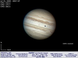 Jupiter as imaged by Michael Phillips on July 25th, 2009... note the impact scar discovered by Anthony Wesley to the lower left.