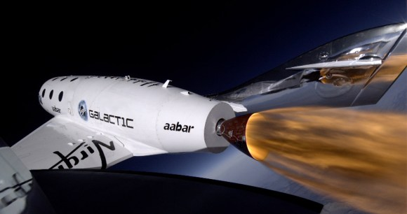 Image from SpaceShipTwo's third powered flight on January 10, 2014. Credit: Virgin Galactic.