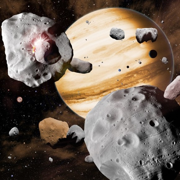 Artist's conception of asteroids and a gas giant planet. Credit: Harvard-Smithsonian Center for Astrophysics