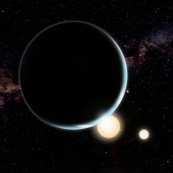 Artist's conception of Kepler 34b, which orbits two stars. Credit: David A. Aguilar (CfA)