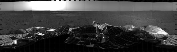 Ten Years Ago, Spirit Rover Lands on Mars . This mosaic image taken on Jan. 4, 2004, by the navigation camera on the Mars Exp