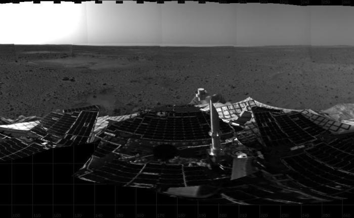 Twelve Years Ago, Spirit Rover Lands on Mars. This mosaic image taken on Jan. 4, 2004, by the navigation camera on the Mars Exploration Rover Spirit, shows a 360 degree panoramic view of the rover on the surface of Mars.   Spirit operated for more than six years after landing in January 2004 for what was planned as a three-month mission. Credit: NASA/JPL