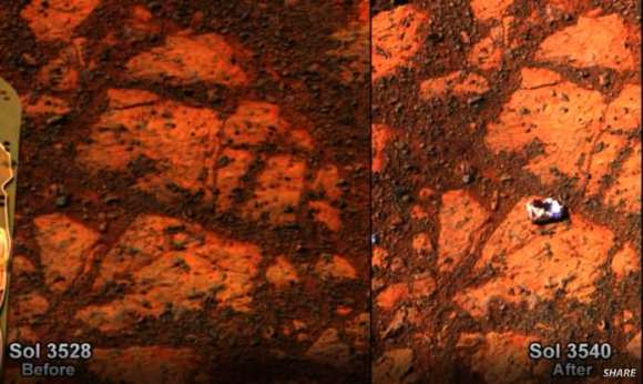 Screenshot from Steve Squyres presentation celebrating 10 years of the Mars Exploration Rovers. A rock suddenly appeared where there was none 12 sols earlier.