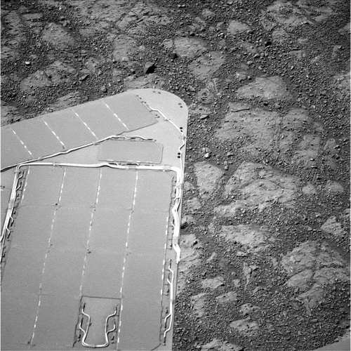 Image from Sol 3528 of the area showing no rock. Click to see original on the rover's raw image website. Credit: NASA/JPL.