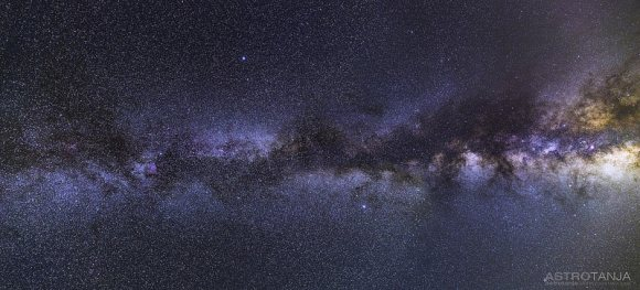 A mosaic of two wide field images taken from the Nevada desert, with the view stretching from Cepheus to the Milky Way core in Sagittarius. Credit and c