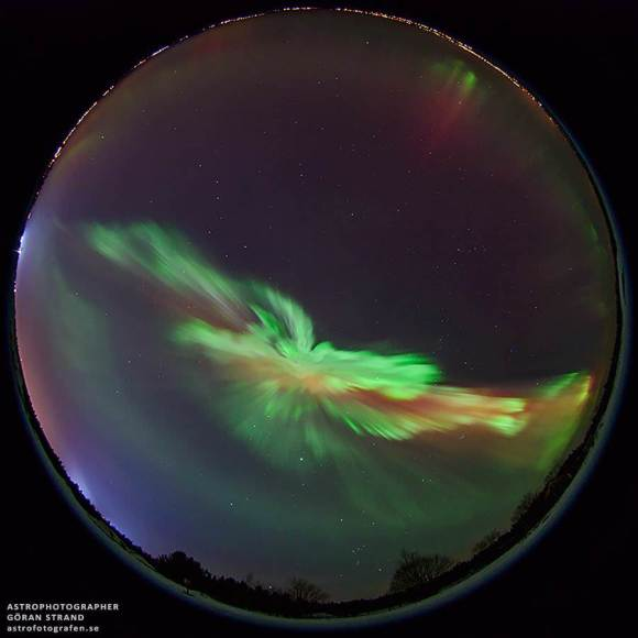 "'This is how a CME impact looks like,"" tweeted Göran Strand from Östersund, Sweden. ""Lot's of aurora tonight."""