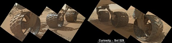 Photomosaic shows new holes and tears in several of rover Curiosity's six wheels caused by recent driving over sharp edged Martian rocks on the months long trek to Mount Sharp. Raw images taken by the MAHLI camera on Curiosity's arm on Jan. 31, 2014 (Sol 529) were assembled to show some recent damage to several of its six wheels.  Credit: NASA / JPL / MSSS / Marco Di Lorenzo / Ken Kremer- kenkremer.com