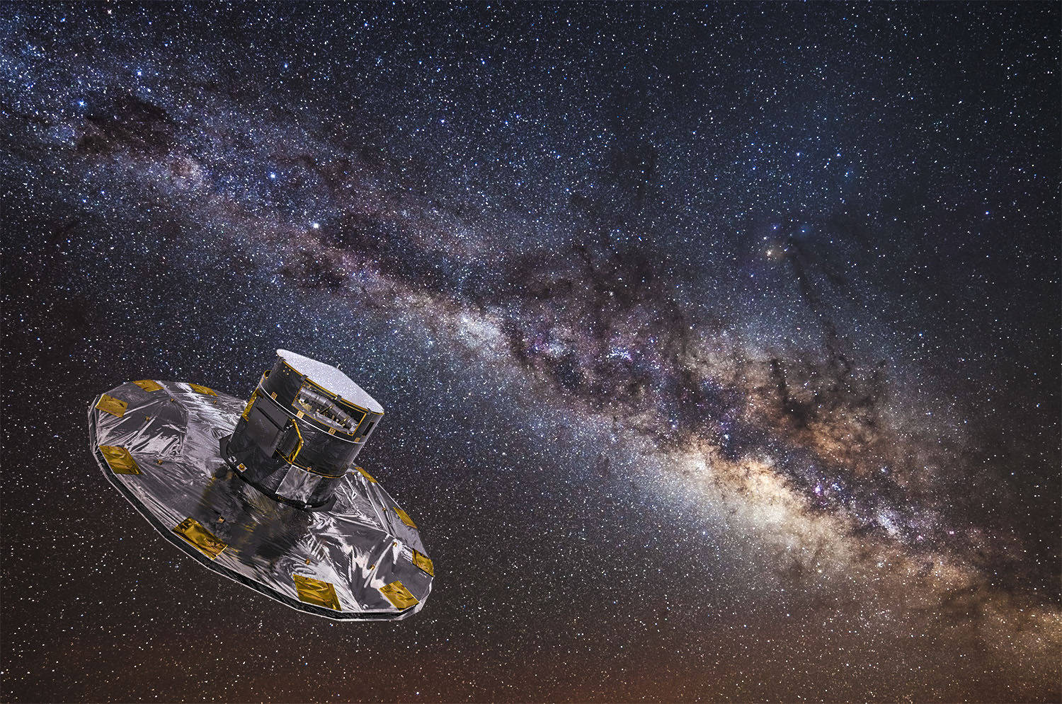 Gaia mapping the stars of the Milky Way. (ESA/ATG medialab; background: ESO/S. Brunier)