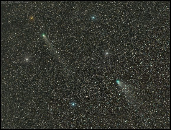Spectacular photo of Comets C/2012 X1 LINEAR (top) and C/2013 R1 Lovejoy taken with a wide field 4-inch telescope before dawn Feb. 9, 2014. Credit: Damian Peach