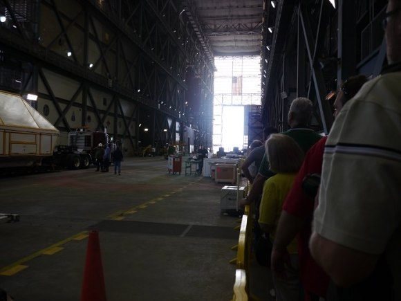 The floor of the Vehicle Assembly Building at the Kennedy Space Center in Florida during a tour in February 2014. At left is an Orion spacecraft prototype readied for shipping to Langley, Virginia. Credit: Elizabeth Howell