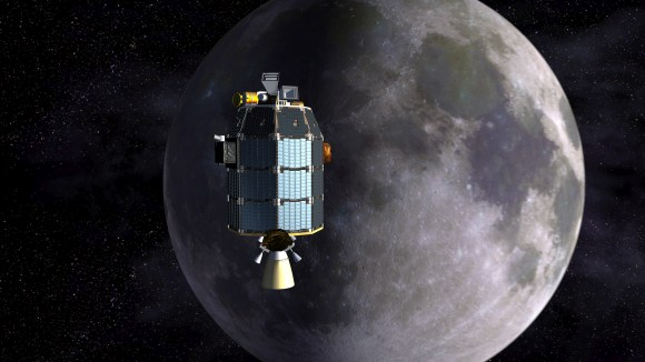 Depiction of NASA's Lunar Atmosphere and Dust Environment Explorer (LADEE) observatory as it approaches lunar orbit.Credit:  NASA Ames/Dana Berry