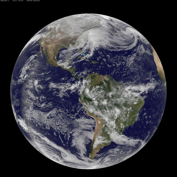 Full disk image of the winter storm over the U.S. south and East Coast was taken by NOAA's GOES-13 satellite on Feb. 13 at 1455 UTC/9:45 a.m. EST. Credit:  NASA/NOAA GOES Project