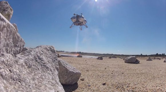 The Morpheus lander comes in for a safe landing during a flight on Feb. 10, 2014. Credit: Project Morpheus/YouTube (screenshot)