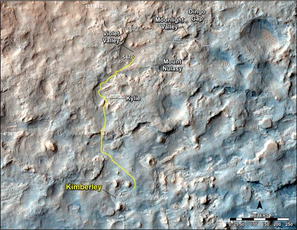 """This map shows the route driven and route planned for NASA's Curiosity Mars rover from before reaching """"Dingo Gap"""" -- in upper right -- to the mission's next science waypoint, """"Kimberley"""" (formerly referred to as """"KMS-9"""") -- in lower left.   Credit: NASA/JPL-Caltech/Univ. of Arizona"""