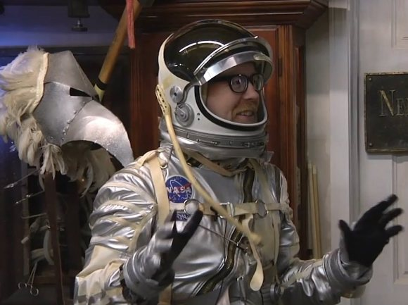 Mythbusters' Adam Savage shows off a Mercury replica spacesuit in February 2014. Credit: Tested/YouTube (screenshot)
