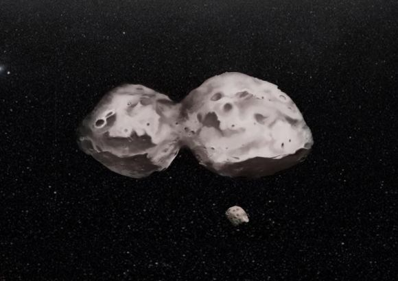 Artist's impression of 624 Hektor, the largest known Trojan asteroid. The dual asteroid is 155 miles (250 kilometers) at its widest. It also has a 7.5-mile (12-mile) moon. Credit: H. Marchis/F. Marchis