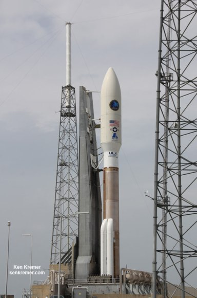Atlas V rocket and Super Secret NROL-67 intelligence gathering payload following rollout to Space Launch Complex 41 at Cape Canaveral Air Force Station, FL, on March 24, 2014. Credit: Ken Kremer - kenkremer.com