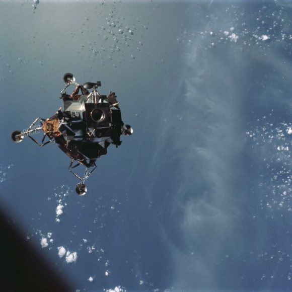 """Apollo 9's lunar module, """"Spider"""", during a test in March 1969. Credit: NASA"""