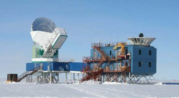 The South Pole Telescope (left) and BICEP (right). Image Credit: Dana Hrubes
