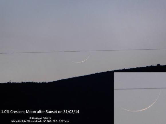 A tiny crescent Moon, with only about 1% of the lunar surface illuminated,  one day and a few hours after the New Moon phase. March 31, 2014 from Sulmona