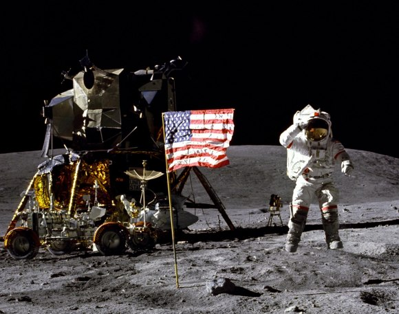 Apollo 16 astronaut John Young on the moon in 1972. Credit: NASA