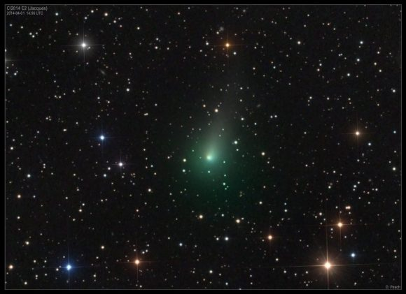 Comet C/2014 E2 Jacques on April 1, 2014. Credit and copyright: Damian Peach.