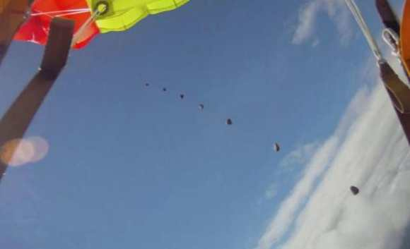 A multiple frame picture of the rock  falling, taken from a video taken during a skydive in 2012. Credit and copyright: Anders Helstrup, used by permission.