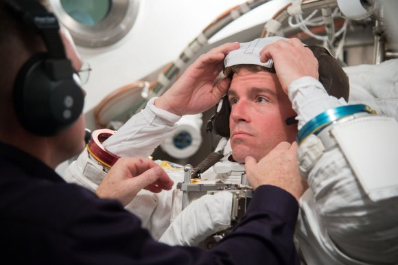 Expedition 40 NASA astronaut Reid Wiseman participates in a spacesuit fit-check prior to his scheduled flight to space in May 2014. Credit: NASA