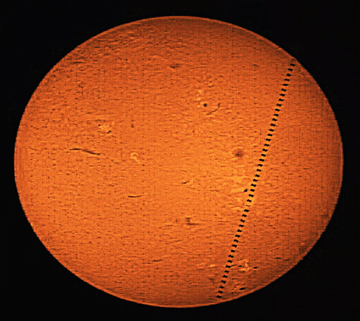 A mosaic of 46 images showing the transit of the ISS across the sun visible from southwest London on  May 16, 2014 at 06:23 UT. Credit and copyright: Roger Hutchinson.