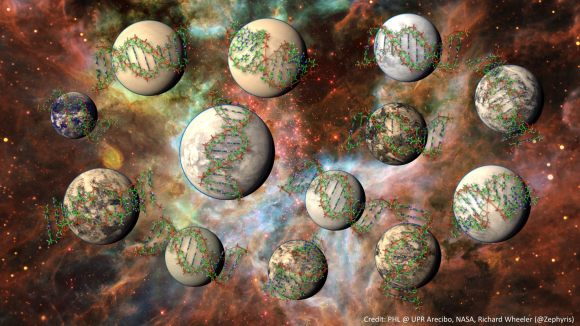 Artist's impression of complex life on other worlds. Credit: PHL @ UPR Arecibo, NASA, Richard Wheeler @Zephyris