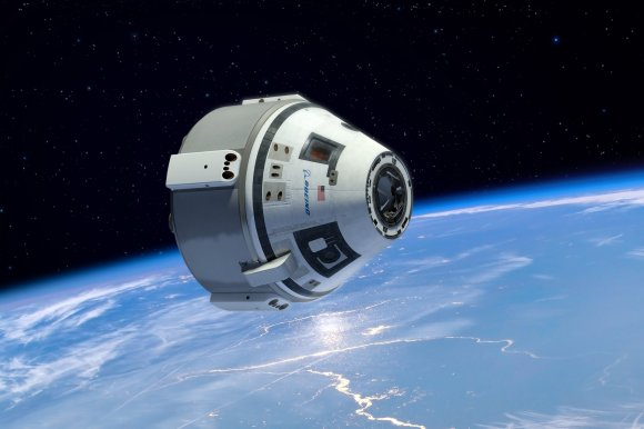 Boeing CST-100 manned space capsule in free flight in low Earth orbit will transport astronaut crews to the International Space Station. Credit: Boeing