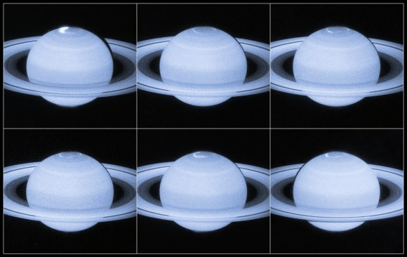 Several images of an aurora on Saturn's north pole taken in April and May 2013 by the Hubble Space Telescope. Credit: NASA/ESA, Acknowledgement: J. Nichols (University of Leicester)