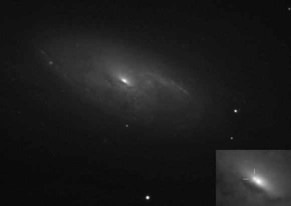 The new Type II supernova is nestled up to the nucleus of the galaxy in this photo taken May 21 with a 17-inch telescope. Credit: Gianluca Masi, Francesca Nocentini and Patrick Schmeer