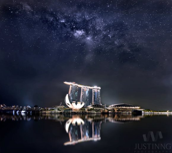 Rising Milky Way above Marina Bay Sands in Singapore on April 10,  2014.  Credit and copyright: Justin Ng.