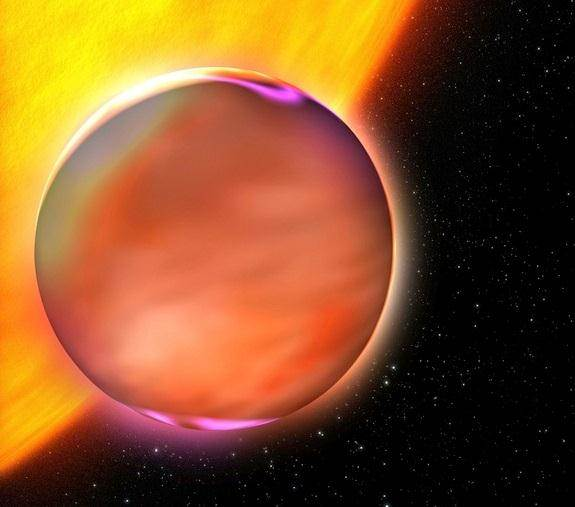 Extrasolar planet HD189733b rises from behind its star. Is there methane on this planet? Image Credit: ESA