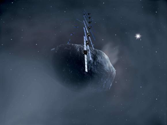 Artist's impression (from 2002) of Rosetta orbiting Comet 67P/Churyumov-Gerasimenko. Credit: ESA, image by AOES Medialab