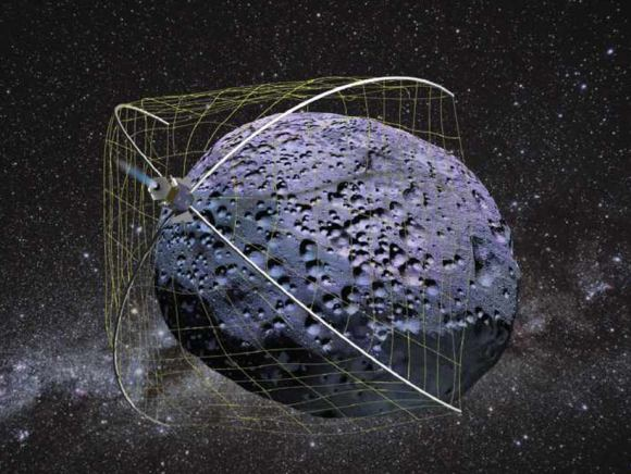 Artist's conception of  the Weightless Rendezvous And Net Grapple to Limit Excess Rotation (WRANGLER). Credit: NASA