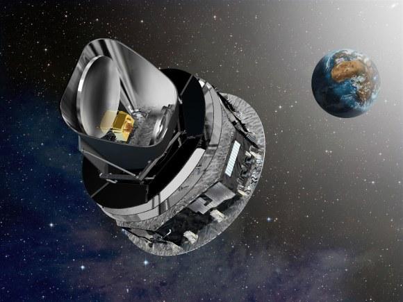Illustration of the ESA Planck Telescope in Earth orbit (Credit: ESA)