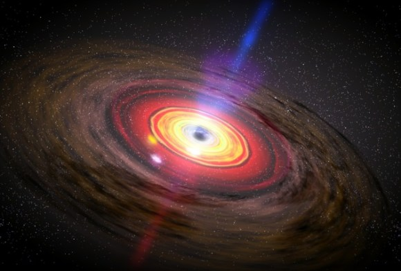 An artist's conception of a supermassive black hole's jets. Image Credit: NASA / Dana Berry / SkyWorks Digital