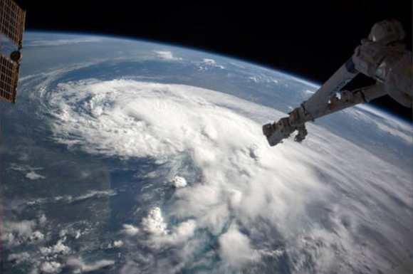 Astronauts on the International Space Station took this image of Tropical Storm Arthur on July 2, 2014. Credit: Reid Wiseman/NASA.
